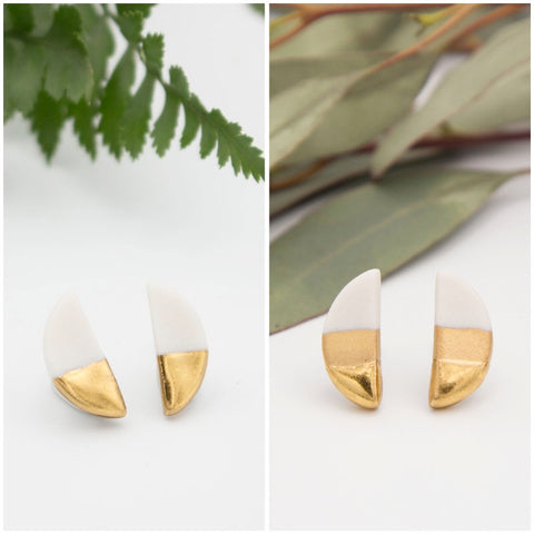Gold + White Half Oval Earrings