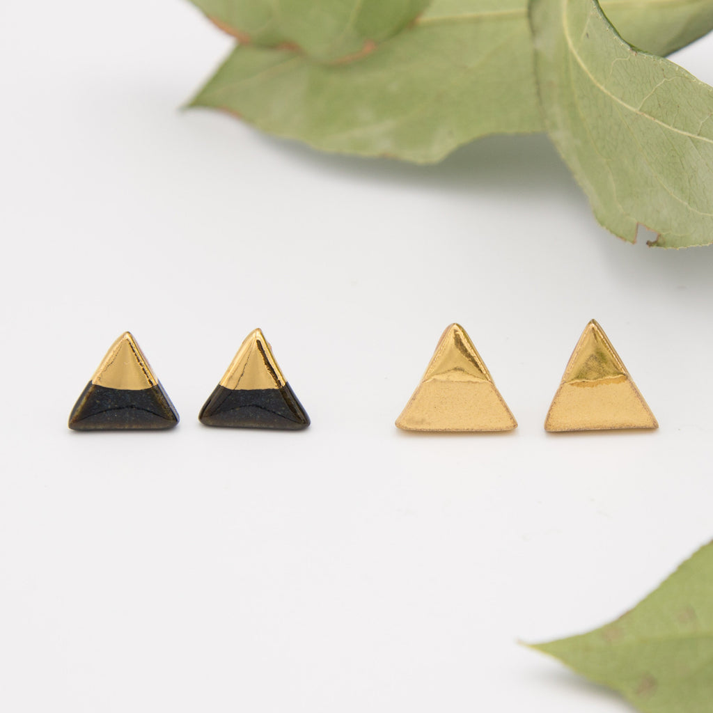 Gold + Black Triangle Tip Earrings