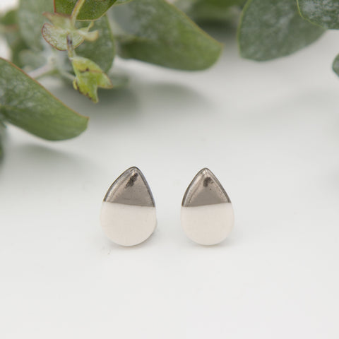 Silver + White Teardrop Earrings