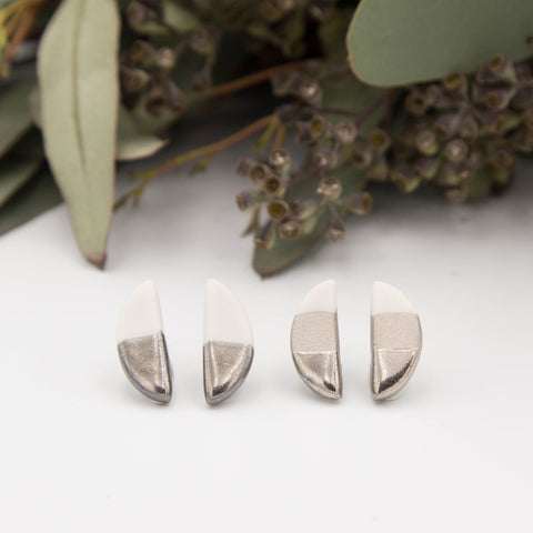 Silver + White Half Oval Earrings