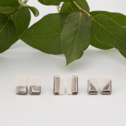 Silver + White Rectangle Earrings