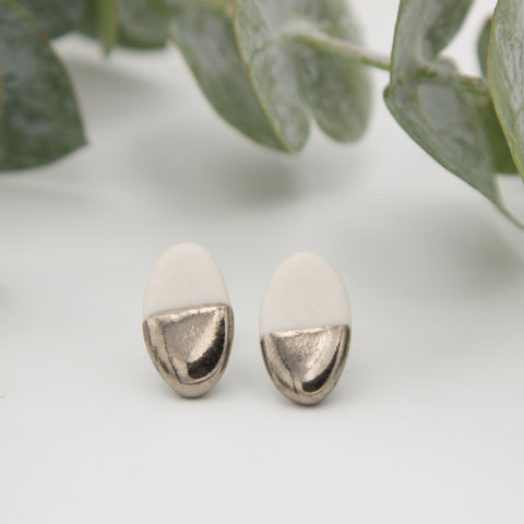 Silver + White Oval Earrings