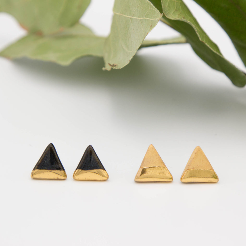 Gold + Black Triangle Earrings