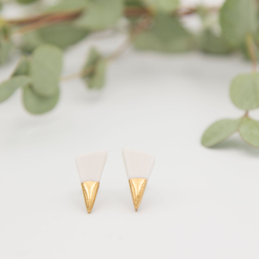 Gold + White Spike Earrings