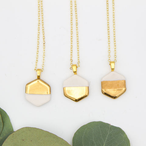 Gold + White Small Hexagon Pendant Necklace