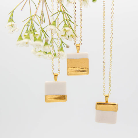 Gold + White Square Pendant Necklace