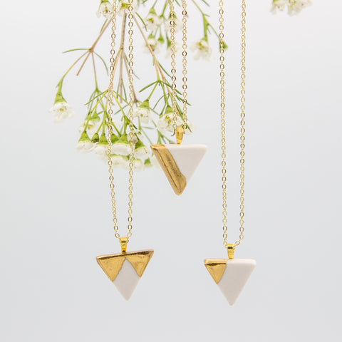 Gold + White Triangle Pendant Necklace