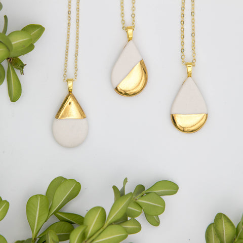 Gold + White Large Teardrop Pendant Necklace