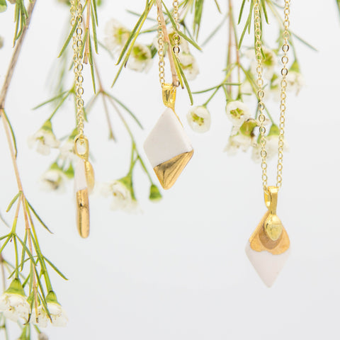 Gold + White Small Diamond Pendant Necklace