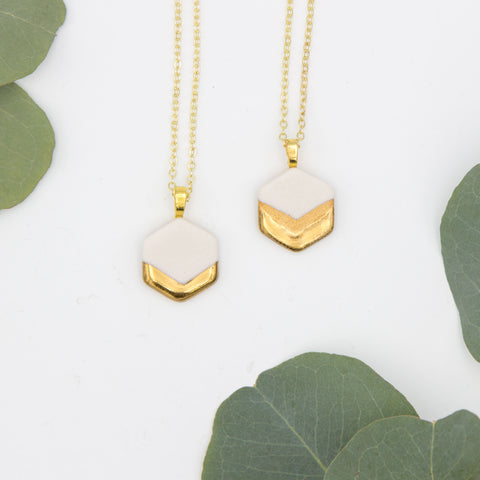 Gold + White Small Hexagon Chevron Pendant Necklace
