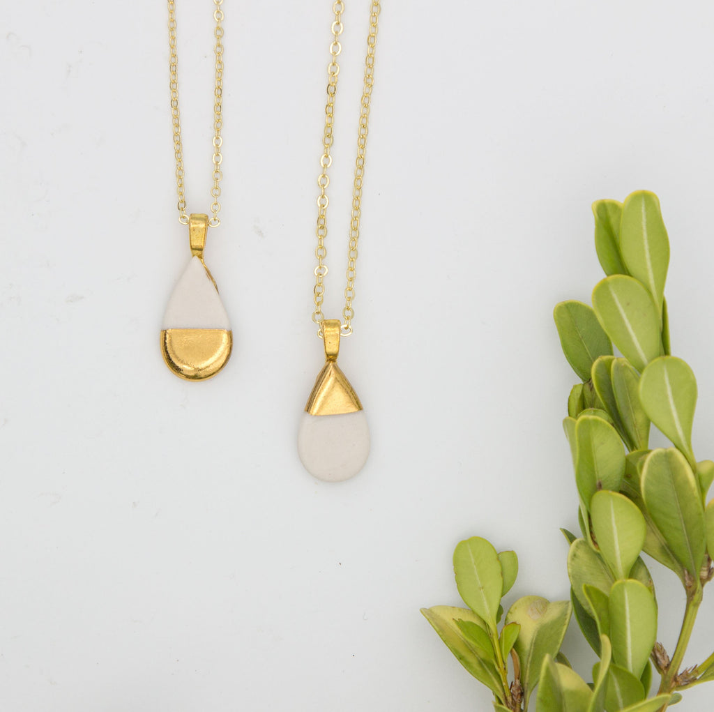 Gold + White Small Teardrop Pendant Necklace