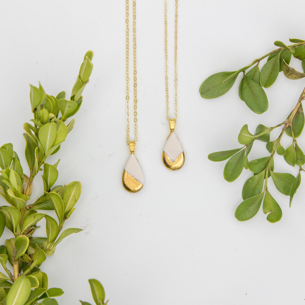 Gold + White Small Teardrop Chevron Pendant Necklace