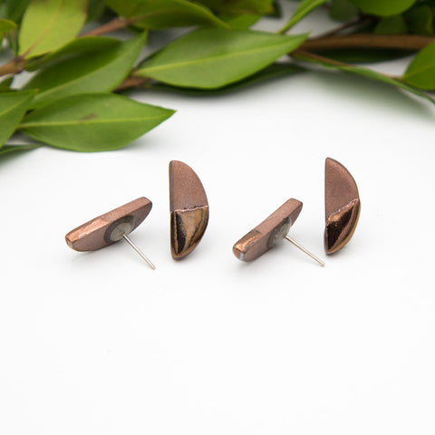 Bronze Half Oval Earrings