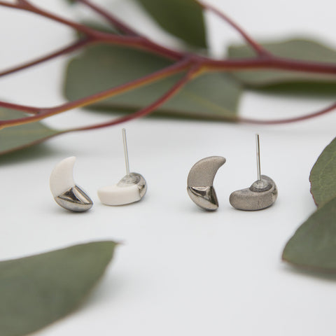 Silver + White Moon Earrings
