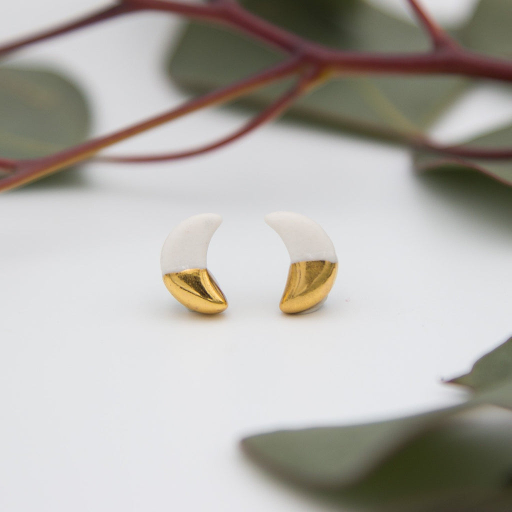 Gold + White Moon Earrings
