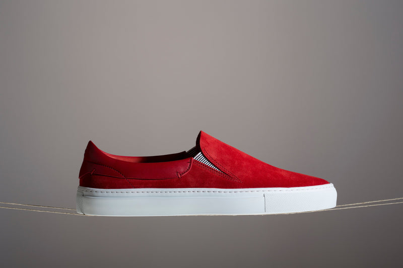 Leather slip on sneakers womens