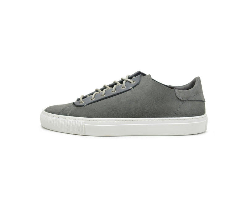Unisex grey leather low top sneakers handmade in Portugal