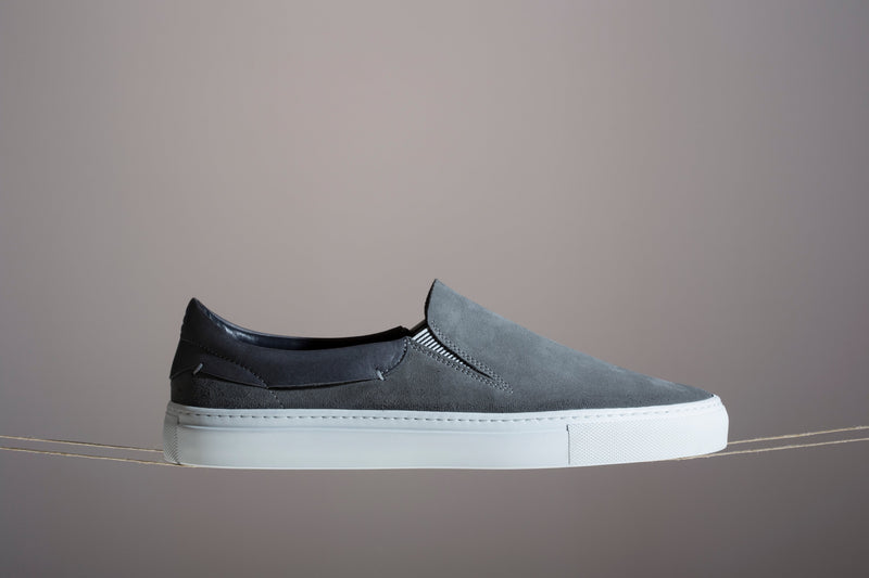 Leather slip on sneakers grey