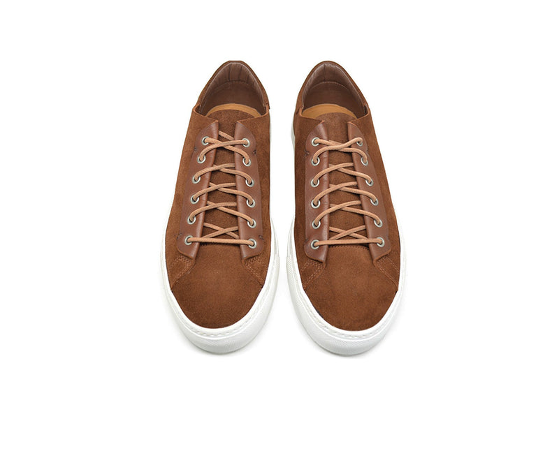 Unisex brown leather low top sneakers handmade in Portugal