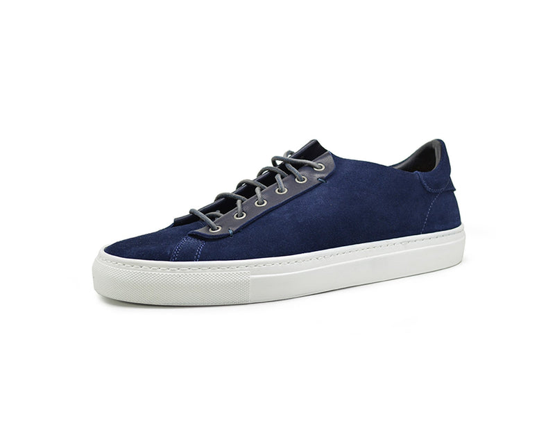 Womens blue leather low top sneakers handmade in Portugal