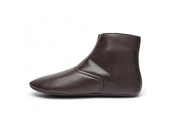 brown leather indoor sock