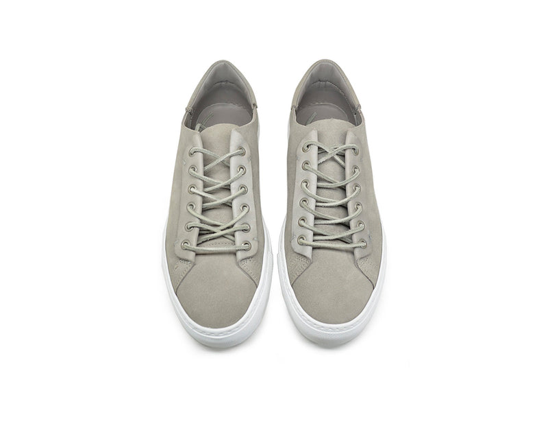 Womens grey leather low top sneakers handmade in Portugal