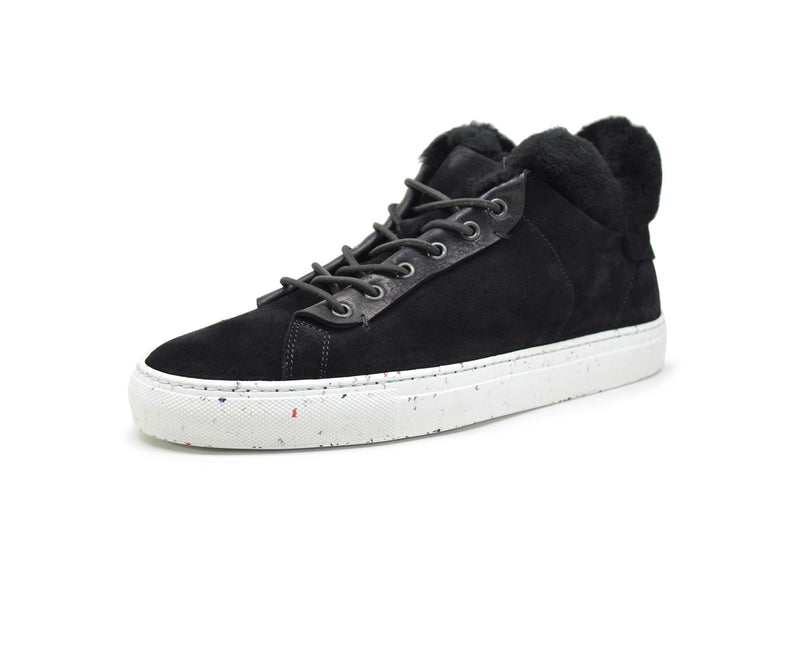 Leather high top sneakers with fur lining