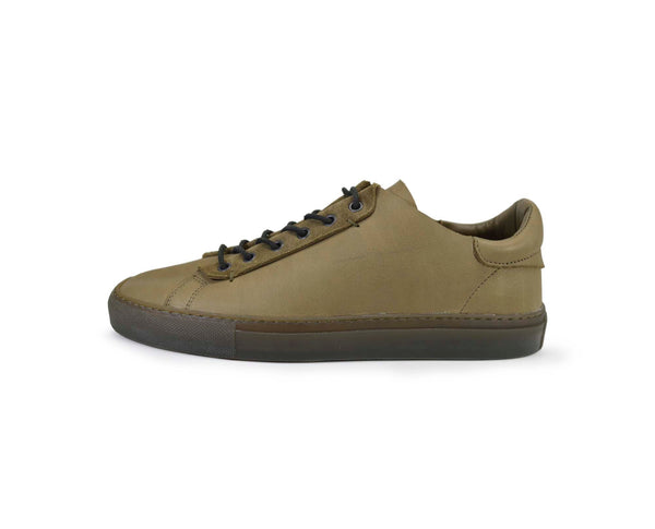 Unisex green leather low top sneakers handmade in Portugal