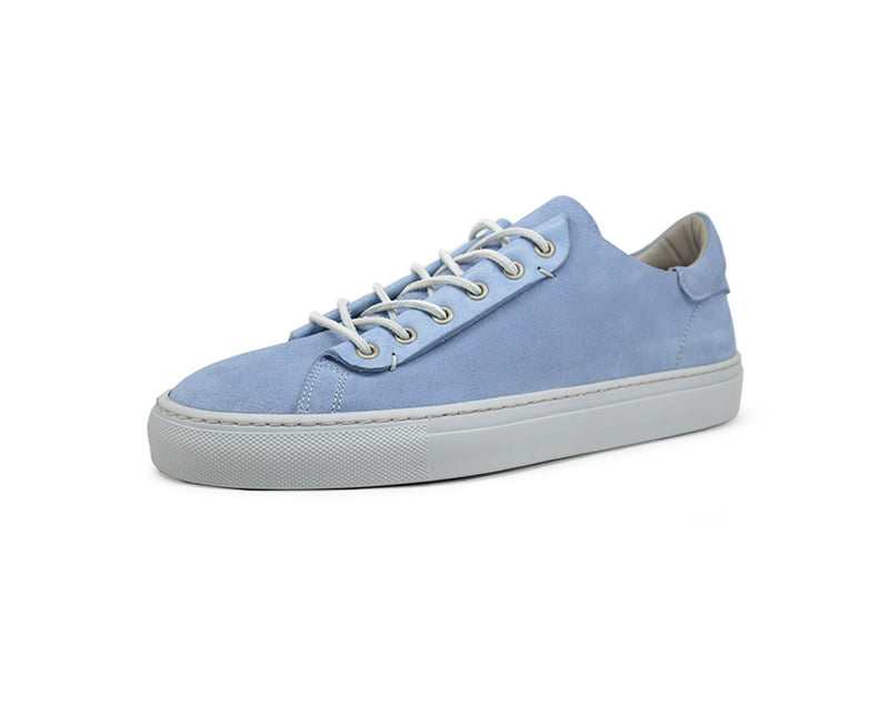 Unisex blue leather low top sneakers handmade in Portugal