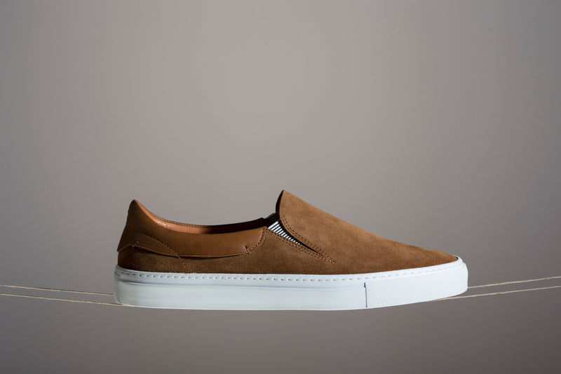 Brown leather slip on sneakers