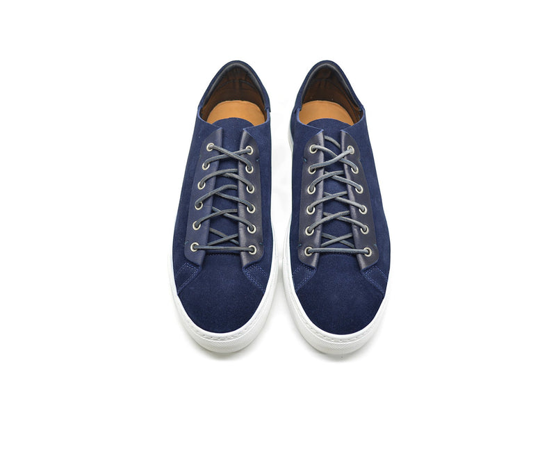 Mens blue leather low top sneakers handmade in Portugal