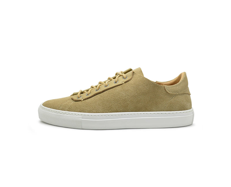 Unisex yellow leather low top sneakers handmade in Portugal
