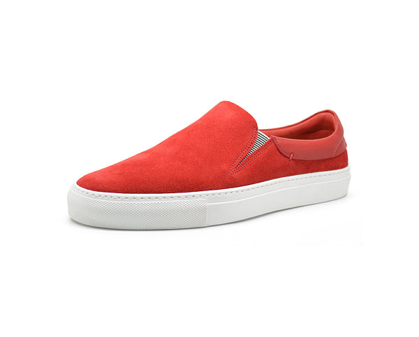 Red leather slip on sneakers