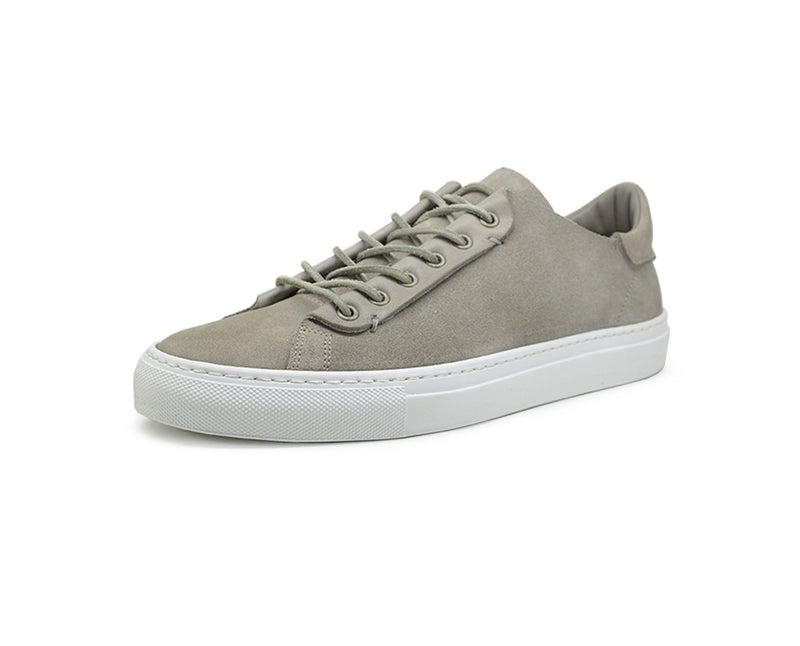 Mens grey leather low top sneakers handmade in Portugal