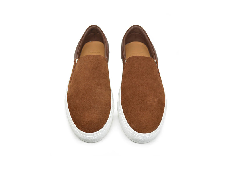 Brown leather slip on sneakers womens