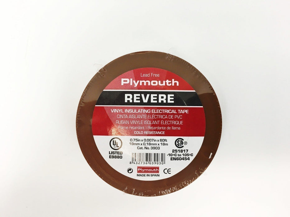 "Plymouth Rubber 3903 Brown 7 Mil Vinyl Electrical Tape 3/4"" x 60' - 10 Rolls"