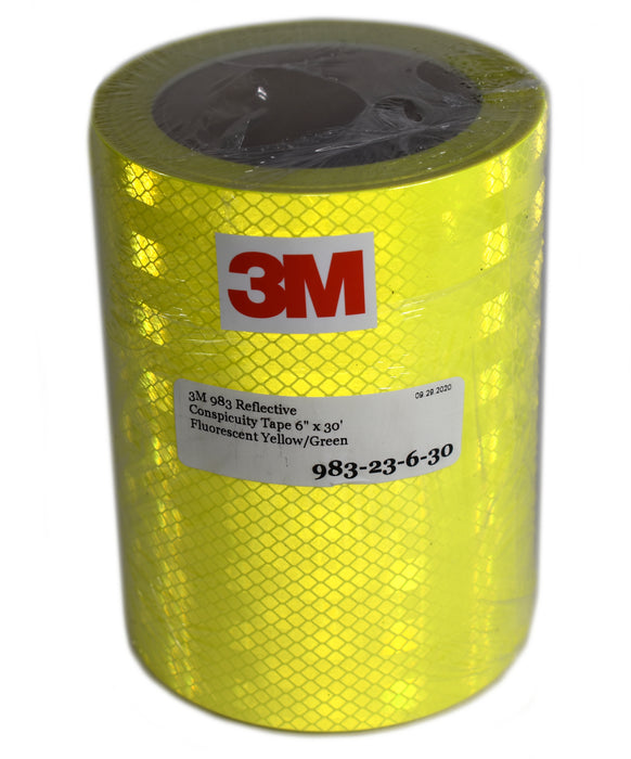"3M 6"" x 30' Roll of 983-23 Fluorescent Yellow-Green Reflective Tape"