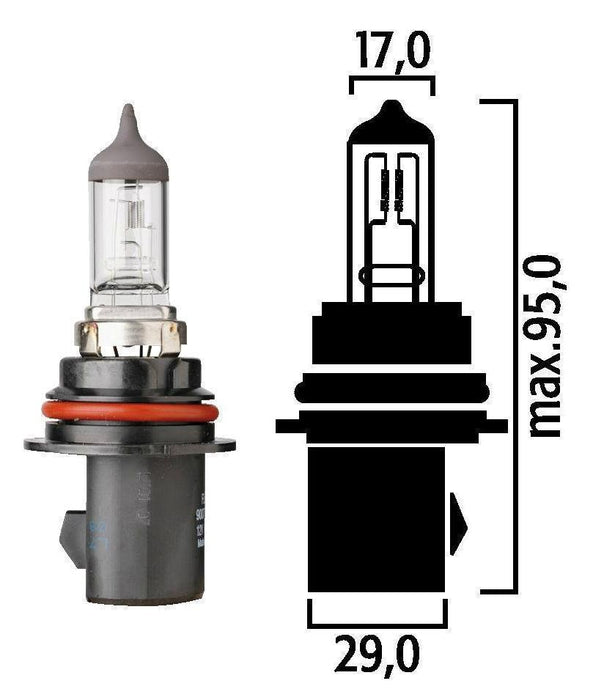Flosser 9007 HB5 12V 65/55W PX29t Halogen Head Light Bulb - High and Low Beam