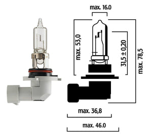 Flosser 9105 HB3 12V 100W P20d High Output Version of 9005 Halogen Light Bulb