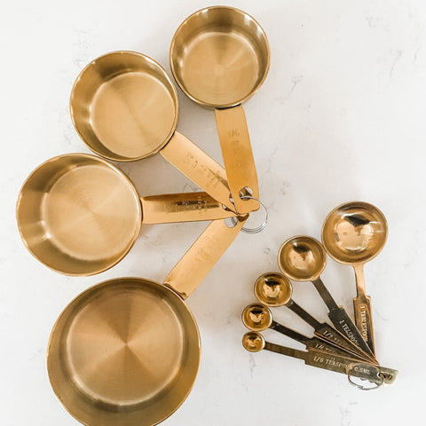 Gold Measuring Cups + Spoons