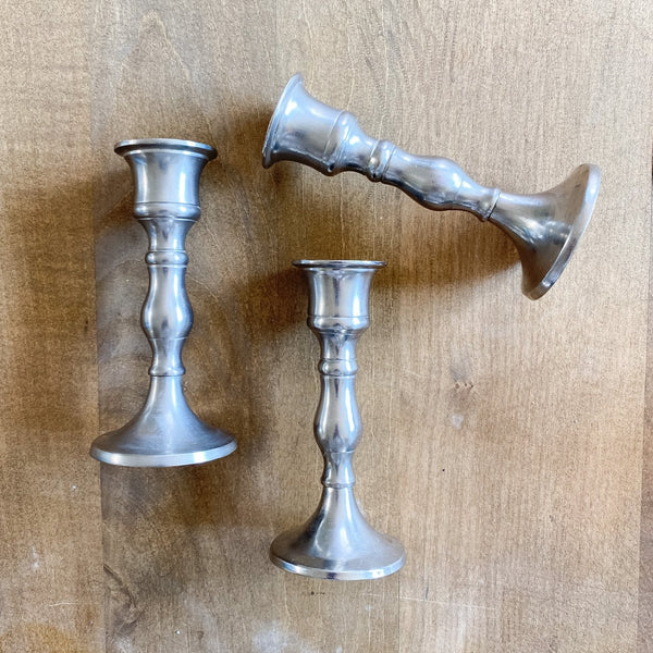 FOUND Silver Candlesticks | Set of 3