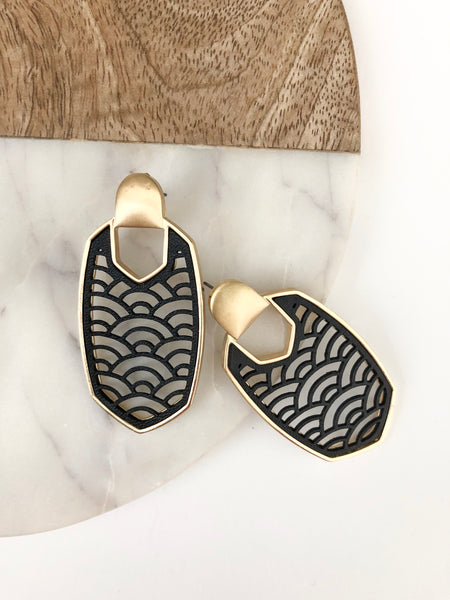 Art Deco Leather Earrings