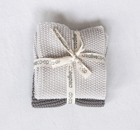 Square Cotton Knit Dish Cloths | Set of 2