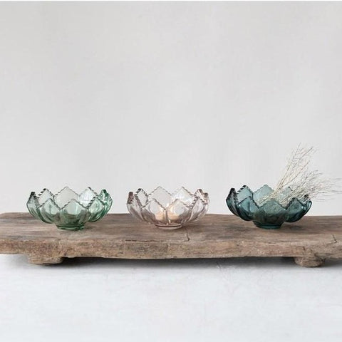 Fluted Glass Tealight Holders | Set of 3
