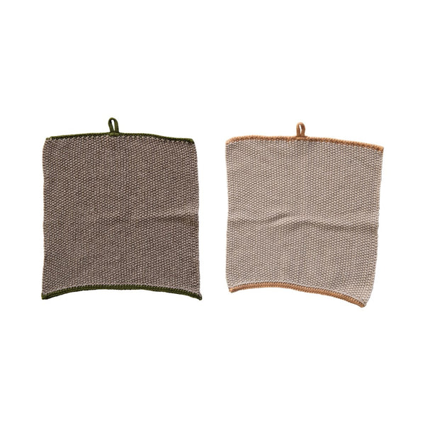Cotton Knit Dish Cloths with trim & loop | Set of 2