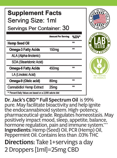 Dr. Jack's Full Spectrum Oil-750mg