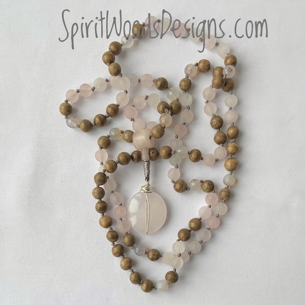 Mala Hand Knotted - Rose Quartz, Landscape Agate and Gray Wood with a Rose Quartz Guru Bead