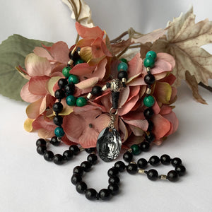 Mala - Hand Knotted - Chrysocolla, Black Onyx, African Fair Trade Metal and Rosewood Beads with a Swarovski Buddah Crystal Guru Bead