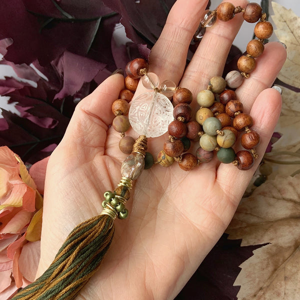 Mala - Hand Knotted - Picasso Jasper, Lodalite and Rosewood Beads with a Quartz, Peacock Jasper & Tassel Guru Bead