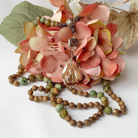 Mala - Hand Knotted - Rhyolite and Rosewood Beads with a Swarovski Buddah Crystal and Druzy Guru Bead